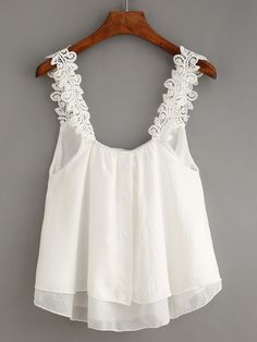Creative Contents about DIY & Crafts, Knitting, Hairstyles, Beauty and more - Womens Fashion Buttoned Front Lace Strap Top White 508203139184807101 Pi. Chiffon Cami Tops, Lace Tops, Dressy Casual Outfits, Cute Outfits, Blouse Styles, Blouse Designs, Sunmer Dresses, Modelos Fashion, Frocks For Girls