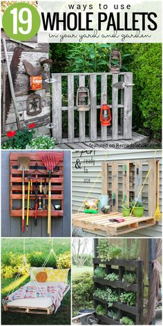 Pallet Furniture Projects 19 Whole Pallet Projects for Your Yard and Garden (and Garage!) - Pallet Furniture Projects 19 Whole Pallet Projects for Your Yard and Garden (and Garage! Used Pallets, Recycled Pallets, Wooden Pallets, Pallet Benches, Pallet Tables, Pallet Bar, 1001 Pallets, Pallet Sofa, Crafts With Pallets