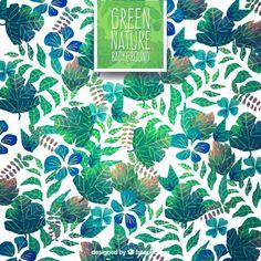 手描き緑の葉の背景 無料ベクター