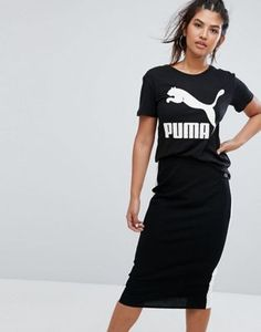 Puma Archive Logo Boyfriend Fit T-Shirt In Black