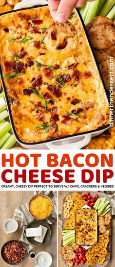 Hot Bacon Cheese Dip has a rich, creamy base and is packed with flavor. It's perfect to serve with crackers and chips at your next party!