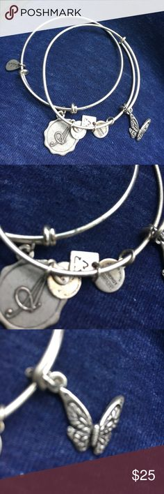 """2 ✌🏼ALEX AND ANI BRACELETs✌🏼 1 butterfly and 1 A initial ALEX and ANI bracelet set.. Personal, timeless and distinctive, a dainty charm stamped with a script initial dangles from an easily adjustable bangle. Choose your own or give a thoughtful gift to someone you love. Mix and match multiple Alex and Ani styles for a playfully eclectic look. 7 3/4"""" length adjusts to 9 3/4""""; 1/4"""" band width Alex & Ani Jewelry Bracelets"""