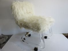 """Signed Mid-Century Modern Lucite Vanity Stool """"Lion In Frost"""" With Faux Grizzle Fur. by FLORIDAMODERN on Etsy"""