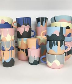 Leah Jackson is an Australian ceramicist working primarily with slip cast and hand built porcelain. #ceramic #mugs #handmade #pottery