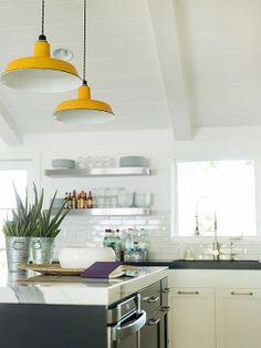 White Kitchen Design With Colorful Pendant Lighting Red Kitchen Decor, Kitchen Colors, New Kitchen, Kitchen Design, Kitchen White, Narrow Kitchen, Kitchen Layout, Kitchen Ideas, Kitchen Pendant Lighting