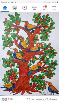 Gond Painting, Saree Painting, Fabric Painting, Madhubani Paintings Peacock, Madhubani Art, Terrace Decor, African Art Paintings, Indian Folk Art, Buddha Art