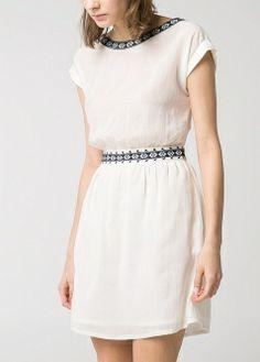 Embroidered chiffon dress - Dresses - Women - MANGO