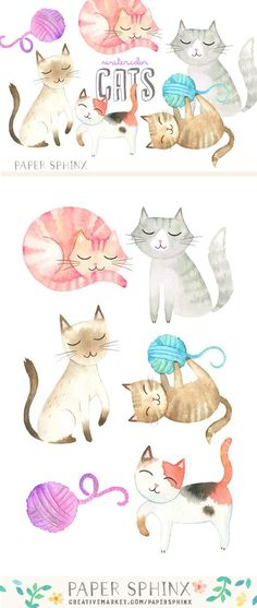 Watercolor Cats Graphic Pack by PaperSphinx on @creativemarket #CatWatercolor