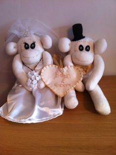 Bride and groom keepsake Sock Monkeys, Sock Animals, Groom, Teddy Bear, Crafty, Bride, Toys, Wedding Bride, Activity Toys