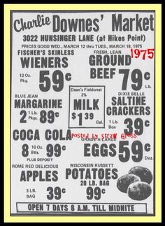 Ad for Charlie Downes' Market, 3022 Hunsinger Ln. (Hikes Point) Louisville, Ky., 1975