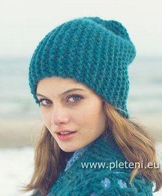 Vroubkovaná čepice petrolejové barvy | PLETENÍ – NÁVODY