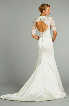 Jim Hjelm - V-Neck Mermaid Gown in Satin. I like the back but can't pull off a mermaid gown Wedding Dress Tumblr, 2015 Wedding Dresses, Wedding Attire, Bridal Gown Styles, Bridal Gowns, Beautiful Wedding Gowns, Mermaid Gown, The Dress, Satin