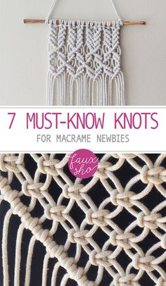 Learn to tie Macrame Knots. Start your own macrame DIY project. You only need to master these 7 DIY macrame knots. Soon a beautiful project will be yours! Macrame Wall Hanging Diy, Macrame Art, Macrame Projects, Craft Projects, How To Macrame, Macrame Plant Hanger Diy, Macrame Wall Hangings, Macreme Plant Hanger, Weaving Wall Hanging