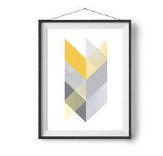 Mustard Art Scandinavian Print Geometric Chevron Art