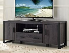 New 60 Modern Industrial Tv Stand Console Charcoal Black Home Accent Furnishings