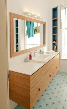 Another great wood color for bathroom - bamboo