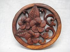 Carved Plumeria Wall Hanging | Exotic Home Furnishings - Island Inspiration Intl…