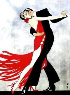 Art Deco style/ Tango Dancers/ by Rene Gruau Shall We Dance, Just Dance, Tango Art, Rene Gruau, Argentine Tango, Art Deco Posters, Illustration Mode, Inspiration Art, Ballroom Dancing