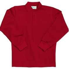e38e1a2d This is a great boys or girls long sleeve school uniform shirt by Classroom  Uniforms. This red long sleeve unisex polo in pique knit with 3 button  placket ...