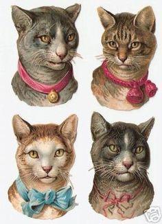 4 Victorian Scraps Cats with Bows Cat Heads Die Cuts Vintage Cat, Vintage Ephemera, Vintage Paper, Vintage Postcards, Paper Dolls, Art Dolls, Art Textile, Cat Cards, Vintage Prints