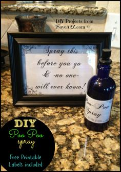 DIY & Healthier option for Poo Poo Spray that is just like Poopourri!!!  Free Printable labels included!