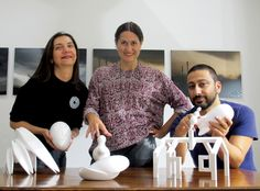 "Nazan Pak, Ela Cindoruk and curator of ""Idea Casting"" project, Erdem Akan with the models before bronze casting"