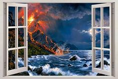 Volcano Beach 3D Window View Decal WALL STICKER Art Mural Exotic Fantasy Beach C668 Huge *** You can find out more details at the link of the image. (Note:Amazon affiliate link) #WallStickersandMurals