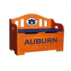Auburn Tigers Stained Birch Wood Storage Bench