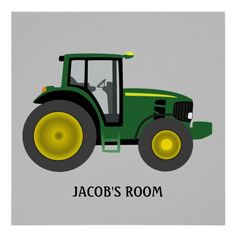 Green and Yellow Tractor Art Poster Print