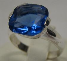 STERLING SILVER 925 RING 4.6g 12x12 CUSHION CUT PURPLE BLUE CZ STONE SIZE 8