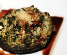 stuffed portobella mushroom with balsamic glaze