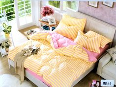 Yellow and pink stripes for summer 100% Cotton bedsheet