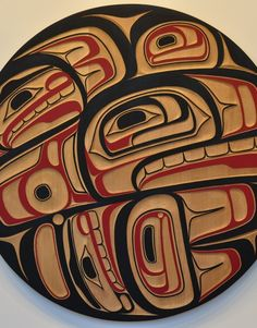 KILLER WHALE PANEL Acrylic on Carved Cedar 48 x 48 inchesAlano Edzerza