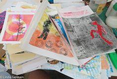 piles of gelatin plate prints