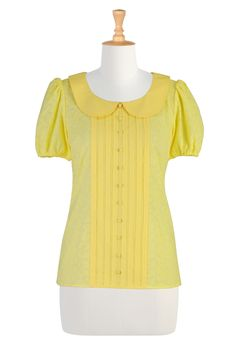 Peter pan collar eyelet top