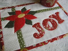 Joy Christmas Card Mug Rug pattern $2.00 on Craftsy at http://www.craftsy.com/pattern/quilting/home-decor/joy---christmas-card-mug-rug/63612