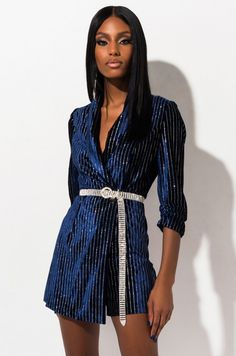 AKIRA Label Velvet Blazer Mini Dress with Glitter Pinstripe Detailing in Blue Black Dress Outfits, Stage Outfits, Sexy Dresses, Trendy Outfits, Fashion Outfits, Sexy Party Dress, Party Dresses, Velvet Blazer, Blazer Dress
