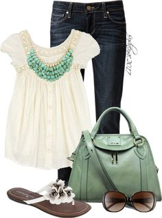 """Spring in Mint"" by sydneyac2017 ❤ liked on Polyvore"