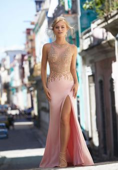 Form Fitting Stretch Crepe Prom Dress with Beaded and Embroidered Net Bodice