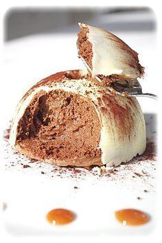 Dome de mousse au chocolat coeur caramel