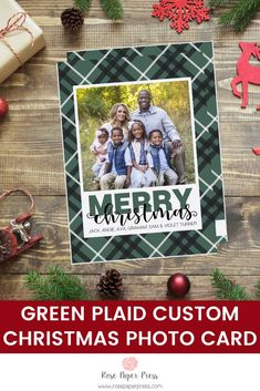 Share holiday greetings with green plaid holiday photo cards. Need to add more pictures or share a detailed message? Add a complementary custom back upgrade. We design, personalize, and professionally print your holiday cards for you. Shop Holiday Cards today.