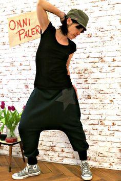 Haremshose aus Sweatshirt Stoff mit Stern Dunkelgrün, Hose mit langen Bündchen, maßgefertigte Haremshose aus Sweat, Sweat Baggy Hose von OnniPalermo auf Etsy