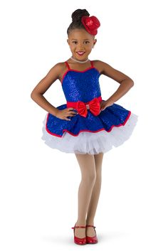 Royal sequin silky stretch over royal spandex leotard with adjustable straps. Attached red sash and sequin peplum. Separate white glitter tulle over white tricot tutu. Binding and bow trim. Bow headpiece included. ACCESSORIES: 87-52 Short Spandex Gloves - Red;  Mini Top Hat - Red is not available. #dancecostumes #firstrecital #costumegallery #dancecompetition #ballerina #babyballerina #tutu #tots Baby Ballerina, Tiny Dancer, White Glitter, Dance Outfits, Dance Costumes, Leotards, Headpiece, Tutu, Perfect Fit