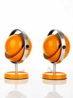 Pair of orange enamel table lamps