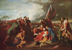 The Death of General Wolfe by Benjamin West 1770: This oil painting depicts the death of British General Wolfe during the Seven Years War in the 1750's. Although the picture shows Wolfe surrounded by friends and admirers, Wolfe actually died alone at the base of a tree. The figures stand in contrapposto poses and have sculptural quality. The composition is in thirds like triptychs from the Renaissance.