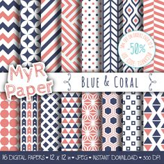 "#digitalpaper Geometric Digital Paper Pack: ""Blue & Coral"" geometric patterns for scrapbooking, invites, cards - printable - Backgrounds di MyRpaper su Etsy"