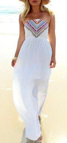 White Strapless Printed Maxi Dress