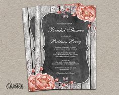 Rustic Vintage Bridal Shower Invitation | DIY Printable Barn Wood Themed Bridal Shower Invitations With Dusty Pink Watercolor Peonies by iDesignStationery on Etsy