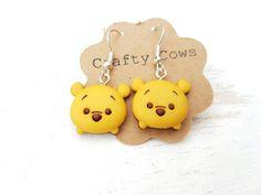 Winnie the pooh bear tsum tsum inspired earrings Disney jewellery dangle earrings