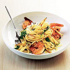 Shrimp Linguine with Ricotta, Fennel, and Spinach | MyRecipes.com